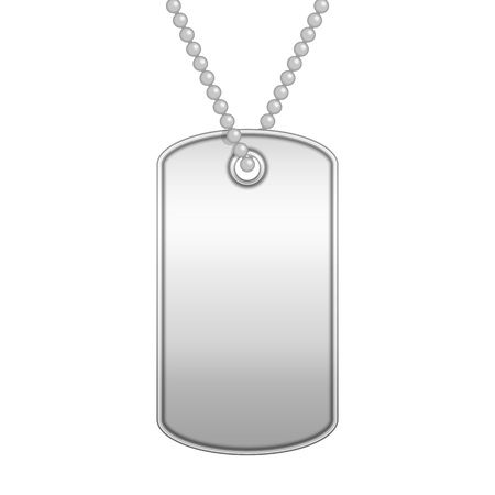 Blank metal tag on a chain. Military soldier ID token in realistic style. Army dog tag isolated on white background. Empty identification plate. Vector illustration EPS 10.  イラスト・ベクター素材