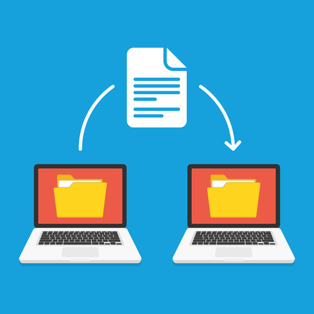 File transfer concept. Two laptops with yellow folders on screen and transferred documents. Copy files, data exchange, backup or PC migration concepts. Vector illustration in flat style. EPS 10.