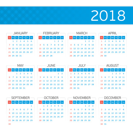Calendar template for 2018 year. Week starts from Sunday. Simple calendar Layout for your project. Minimalistic style. Vector illustration EPS 10.  イラスト・ベクター素材