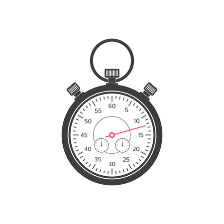 Stopwatch simple icon, isolated on white background. Stop watch timer flat symbol. Time management concept. Vector illustration EPS 10.