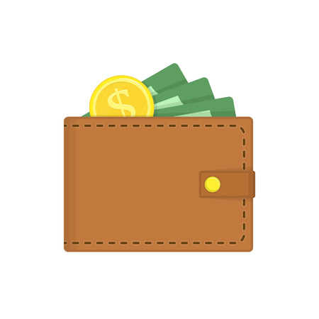Wallet with Money in flat style. Brown purse green paper money, and golden coin. Wallets full of green dollars isolated on white background. Business, finance or online payment concept. Vector EPS10.
