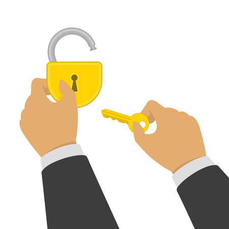 Hands opens yellow padlock. One hand with the key open lock which is in the second hand. Unlock, opening concept. Vector illustration in flat style. EPS 10.  イラスト・ベクター素材