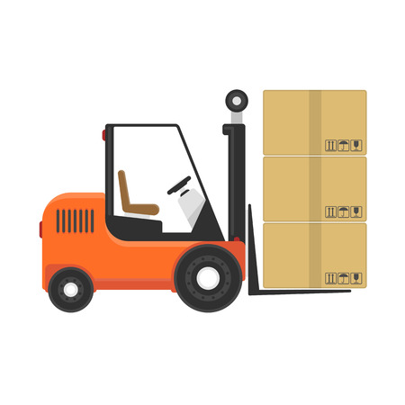 Forklift truck with cardboard boxes isolated on white background. Loader with cargo. Industry cargo equipment, fork lift and delivery, shipping concept. Vector illustration in flat style. EPS 10.  イラスト・ベクター素材