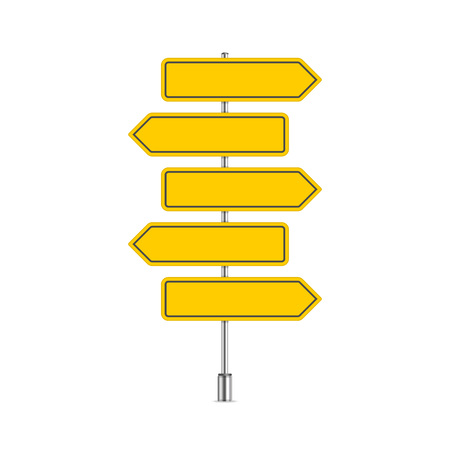 Street sign template with place for text. Blank road signs isolated on white background. Yellow arrow signposts in realistic style. Vector illustration EPS 10.