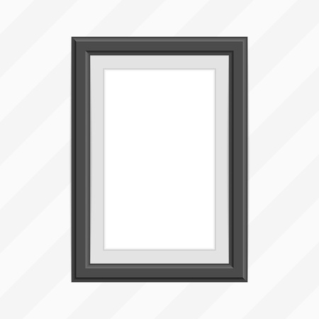 Realistic photo frame template isolated on white background. Black, blank picture frames for A4 image or text. Modern design element for you product mock-up or presentation. Vector illustration EPS 10
