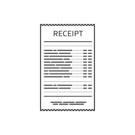 Receipt icon in a flat style isolated on a colored background. Invoice sign. Bill atm template or restaurant paper financial check. Concept Paper receipts. Vector illustration EPS 10.  イラスト・ベクター素材