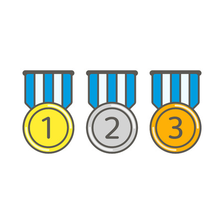 Medal set with blue ribbons isolated on white background. Collection of gold, silver and bronze award medals in flat style. Championship prize awards. Vector illustration. EPS 10.