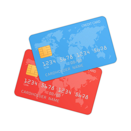 Red and blue credit cards in realistic style. Plastic Bank Credit or Debit card isolated on white background. Highly detailed mock up template. Vector illustration EPS 10.  イラスト・ベクター素材