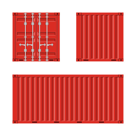 Red cargo container for shipping in flat style. Front, Back and Side view. Transportation Container isolated on white background. Freight Shipping concept. Vector illustration EPS 10.