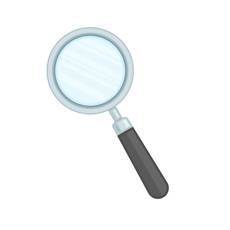 Magnifying glass in flat style. The magnifier or loupe sign isolated on white background. Search and inspection symbol. Vector illustration EPS 10.