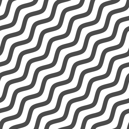 Black and white seamless wave pattern. Linear diagonal waves background. Abstract geometric ornament. Sea or ocean texture. Vector illustration in flat style. EPS 10.