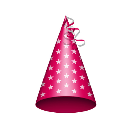 Red party hat with white stars. Accessory, symbol of the holiday. Birthday Colorful Cap vector illustration. EPS 10.