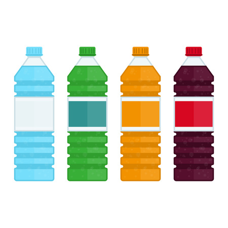 Bottle of water and sweet soda in flat style. Plastic beverage bottles icon set. Bottled cold drinks isolated on white background. Vector illustration EPS 10. Vettoriali