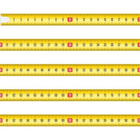 ツールルーレットまたはルーラー用の黄色の測定テープ。センチメートル単位のテープ メジャー テンプレート。白い背景に分離されたテープメーターセット。リアリスティックなスタイルでのベクトルイラスト。EPS 10. ベクターイラストレーション