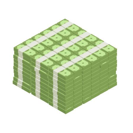 Big stacked pile of cash. Hundreds of dollars in flat style isometric illustration. Big money concept. Stacked pile of hundred us dollar cash.