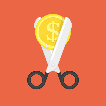 Scissors cutting money. Sale and Discounts symbol. Concept of cost reduction or cut price. Vector illustration in flat style. EPS 10. Stock Illustratie