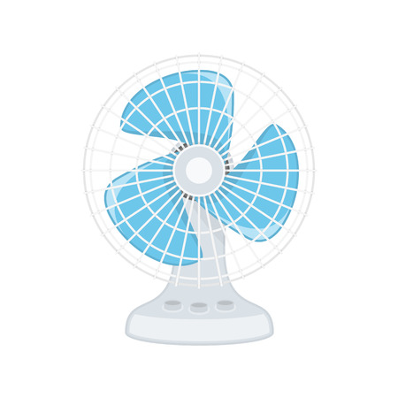 Electric fan icon in flat style. Old, Vintage Fan isolated on white background. Home cooling blower sign. Vector illustration EPS 10. Illustration