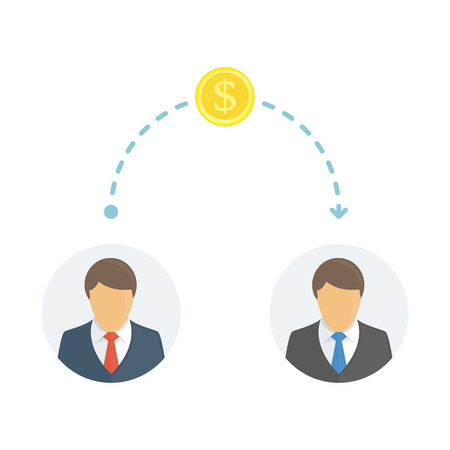 Sending Money between businessmen. People sending and receiving money. Cash transfer. Business, financial savings, earning or making money concept. Vector illustration in flat style. EPS 10.
