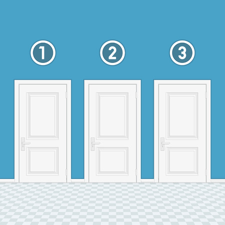 Three doors with numbers. Illustration