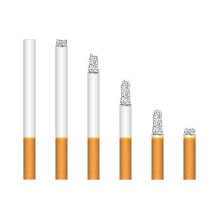 Set of burning cigarette.