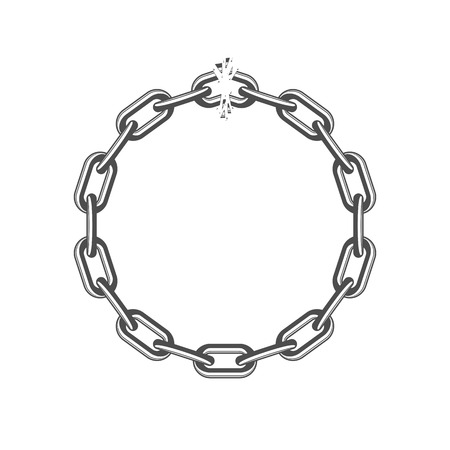 Broken black chain links isolated on white background. Freedom, disruption strong steel shackles concept. Vector illustration in flat style. EPS 10. 일러스트
