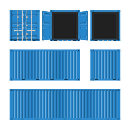 Blue cargo container for shipping in flat style. Front, Back and Side view. Transportation Container isolated on white background. Freight Shipping concept. Vector illustration EPS 10.