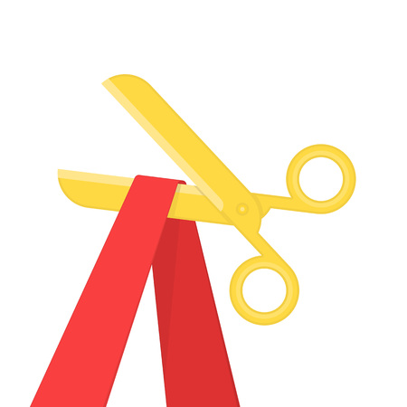 Grand opening concept. Scissors cutting the red ribbon isolated on white background. Golden scissors cut bright tape. Vector illustration EPS 10.