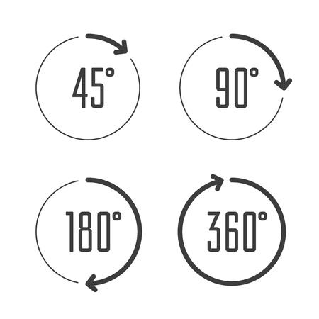 Set di icone di angoli 45, 90, 180 e 360 gradi. Insieme di simboli del cerchio di rotazione delle frecce. Simboli di segni di matematica di geometria. Freccia di rotazione completa completa.
