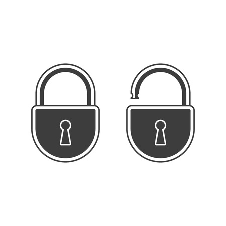 Open and closed lock icon. Simple style. Vector EPS 10.