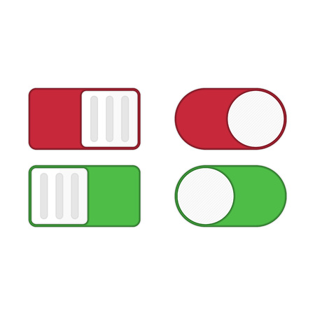 Toggle switch icon, on, off position. Modern selector green, white and red colors. Template for mobile applications, web design. Design elements in flat style for user interface. Vector illustration.