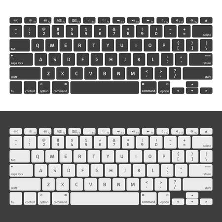 Computertastaturen. Moderne, kompakte Tastatur in weißer und schwarzer Farbe. Technologie-Design. Realistische Tastatur mit Alphabet.