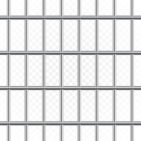 Barre di metallo della prigione isolate su sfondo trasparente. Prigione realistica del recinto della prigione. Reticolo senza giunte. Penale o concetto di sentenza. Illustrazione Eps 10. Vettoriali