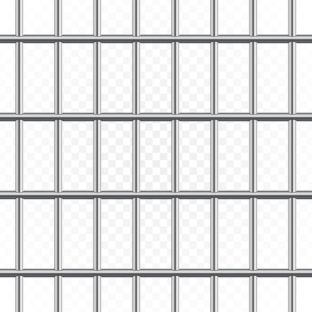 Gefängnismetallstangen lokalisiert auf transparentem Hintergrund. Realistisches Gefängniszaun Gefängnis. Vektor nahtlose Muster. Kriminelles oder Satzkonzept. Abbildung ENV 10. Vektorgrafik
