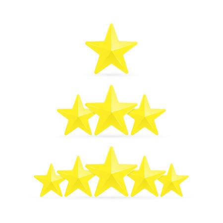 Bewertungsvorlage mit drei Sternen. Bewertungssystem im flachen Stil, isoliert auf weißem Hintergrund. Kundenproduktbewertung, Feedback oder Bewertungsranking. Vektor-Illustration