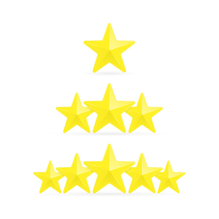 Three stars ratings template. Rating system in flat style, isolated on white background. Customer product rating, feedback or review ranking. Vector illustration