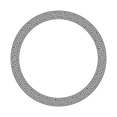 Decorative round frame in Greek style for photo or text. Abstract geometric ornament in the form of a circle, isolated on white background. Vintage framework. Vector illustration.