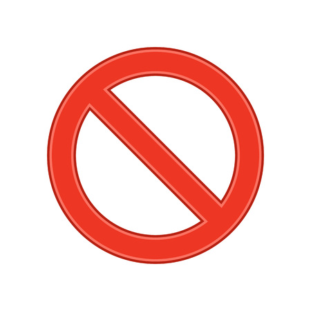 Prohibition sign template. Forbidden icon isolated on white background. No Sign in flat style. Vector illustration