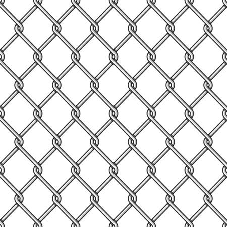 Naadloze ketting link hek achtergrond. Hekken gemaakt van metalen gaas op witte achtergrond. Bedraad hekpatroon in vlakke stijl. Mesh-netting. Vectorillustratie EPS-10. Vector Illustratie