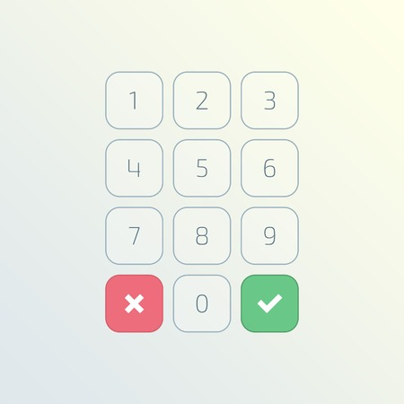 Keypad entry. Digital keypad, keyboard, dialer access vector illustration. Buttons with numbers isolated on white background. Illustration