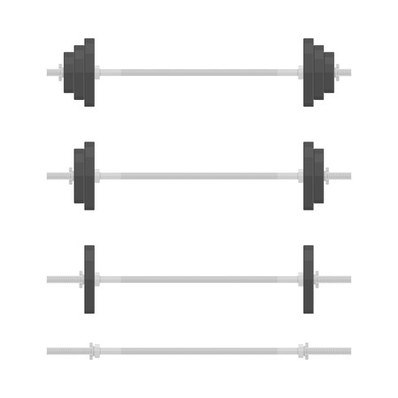 Barbells with different weights, in flat style. Barbell icon isolated on white background. Gym, fitness and athletic centre concept. Weightlifting equipment. Vector illustration Illustration