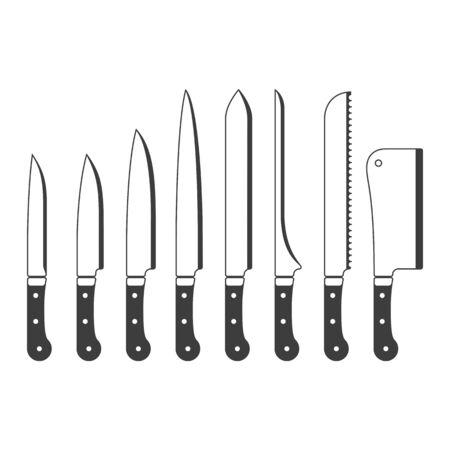 Zestaw ikon noży kuchennych.