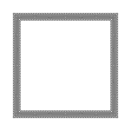Decorative square frame in Greek style for photo or text. Abstract geometric ornament, isolated on white background. Vintage framework border. Vector illustration