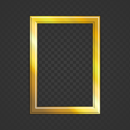 Realistic golden photo frame isolated on transparent background. Gold blank picture frames for image or text. Modern design element for you product mock-up or presentation. Vector illustration