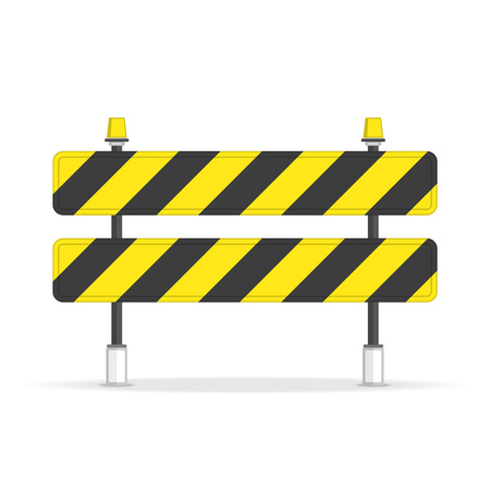Road closed barrier icon in flat style. Symbols of restricted area which are in under construction processes. Barrier isolated on white background. Black and yellow stripe. Vector illustration EPS 10. Stock Illustratie