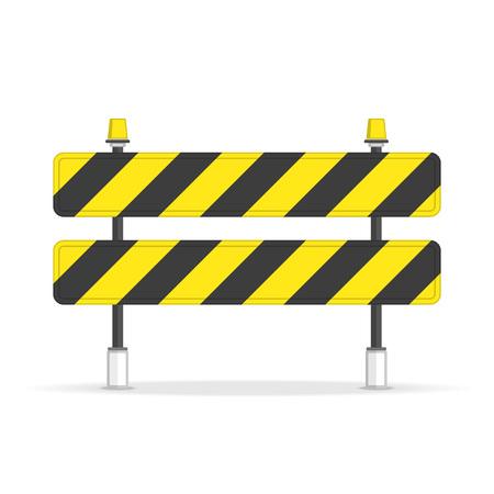 Straßensperre Symbol im flachen Stil. Symbole für eingeschränkte Bereiche, die sich im Bau befinden. Barriere isoliert auf weißem Hintergrund. Schwarzer und gelber Streifen. Vektorillustration ENV 10.