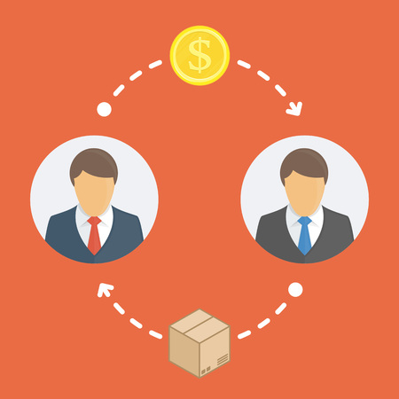 Online shopping. One person sent money, and the second person sent item. E-commerce or Business concept. Vector illustration in flat style. Illustration