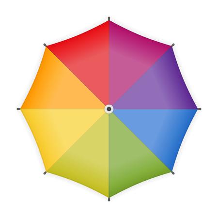 Icona dell'ombrello arcobaleno isolato su priorità bassa bianca. Ombrello colorato per il tuo design. Vista dall'alto. Illustrazione vettoriale in stile piatto. ENV 10. Vettoriali