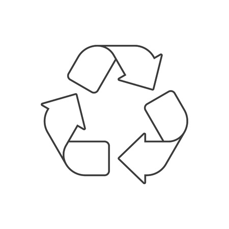 Recycle icon. Recycling pictogram isolated on white background. Black and white recycle sign. Flat style. Circle arrow symbol. Vector illustration