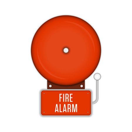 Red fire alarm system in flat style. Fire or Alarm bell Isolated on a white background. Safety equipment. Fire-prevention protection concept. Vector illustration EPS 10.