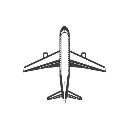 Airplane simple icon. Aircraft view from above. Plane from top view. Concept of air travel, transportation of goods. Vector illustration Illustration
